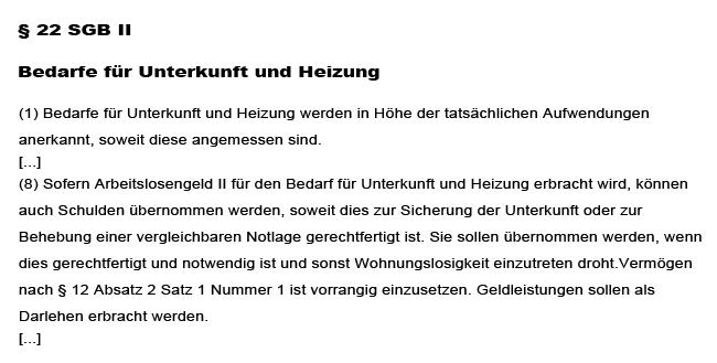 Übernahme Mietschulden Hartz IV