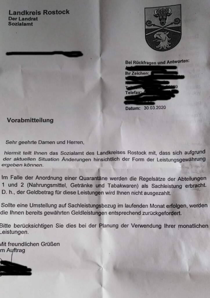 Schreiben des Sozialamtes Rostock zu Sachleistungen statt Geldleistungen vom 30.03.2020