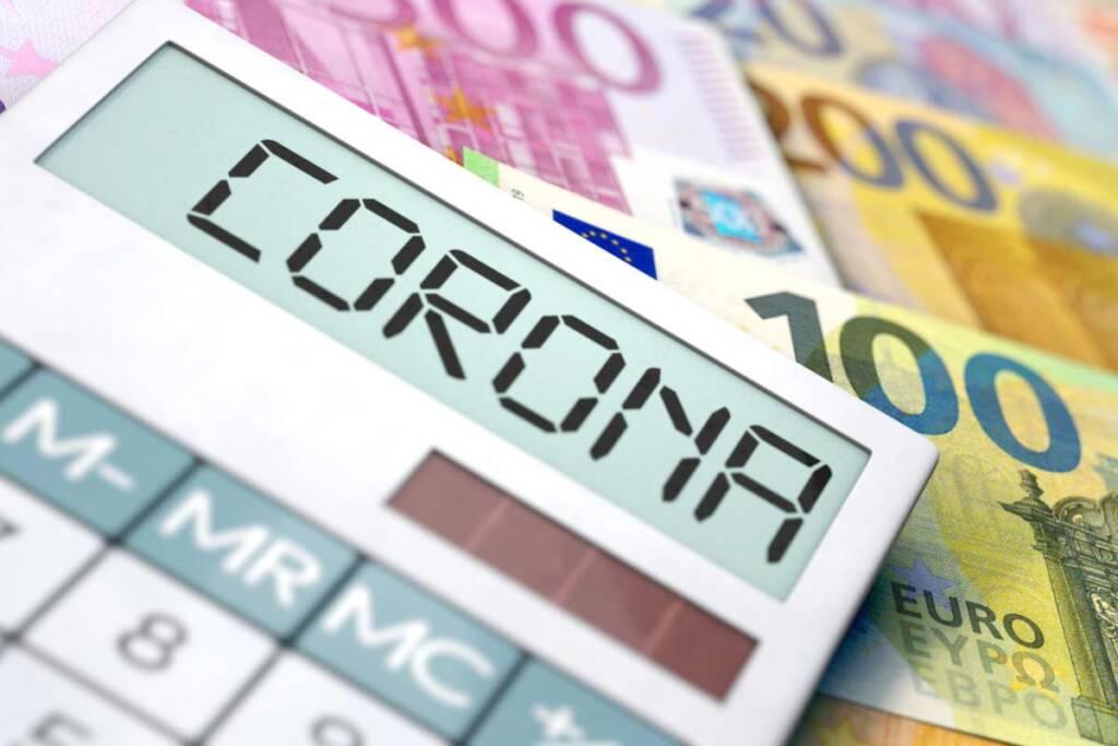 Corona und Euro-Scheine