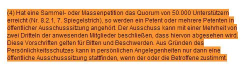Auszug Verfahrensgrundsätze Petitionen Bundestag