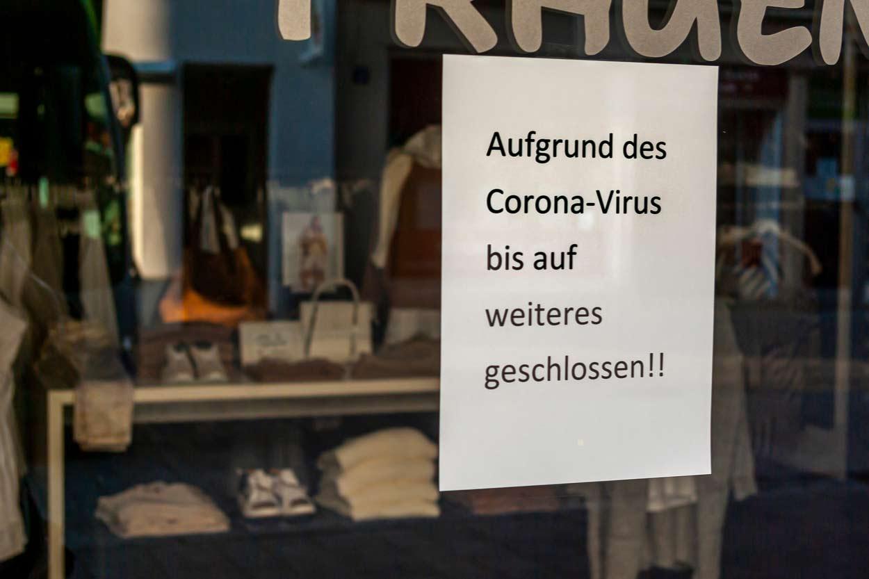 Geschlossener Laden wegen Pandemie
