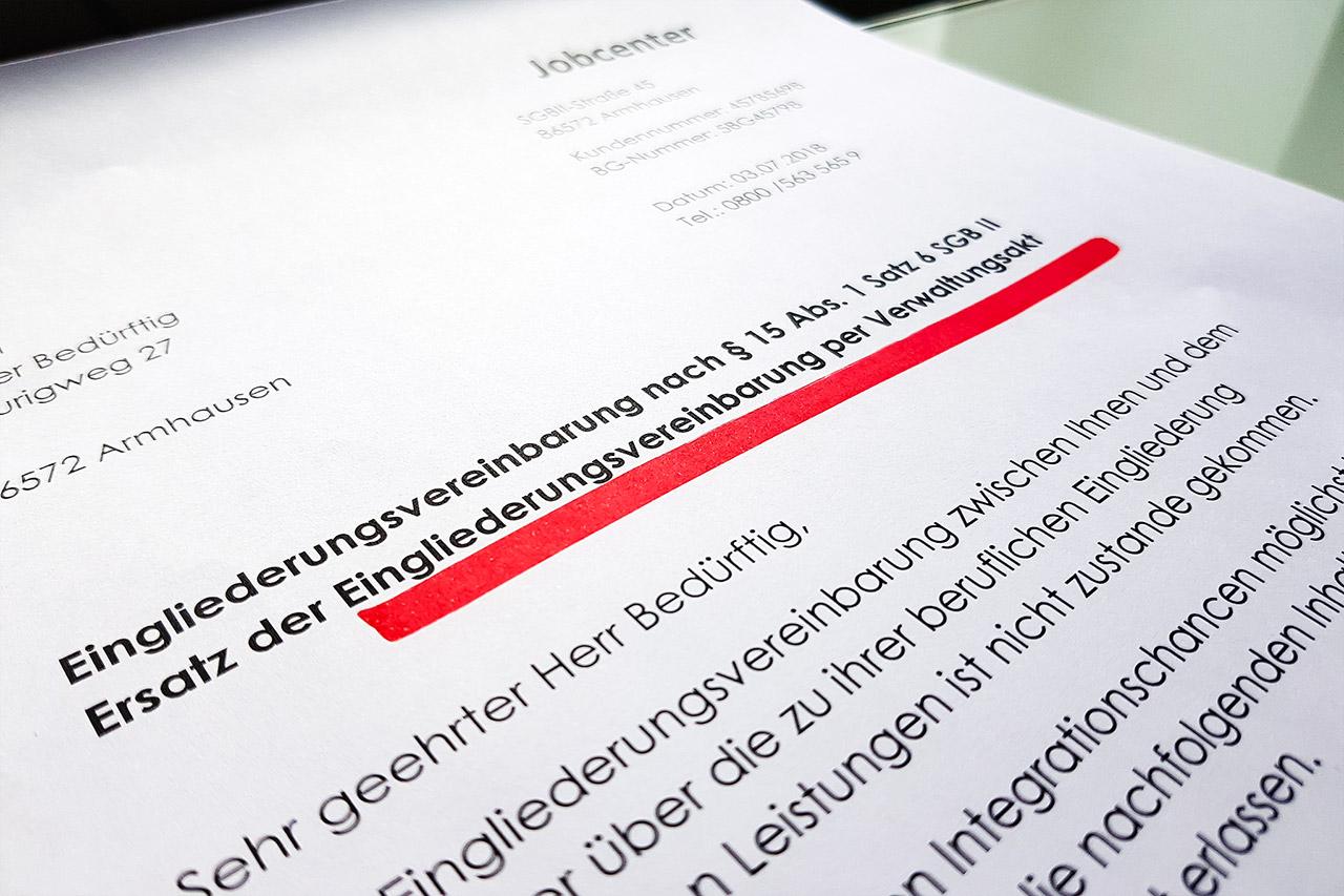 Eingliederungsvereinbarung Hartz Iv Egv Per Verwaltungsakt