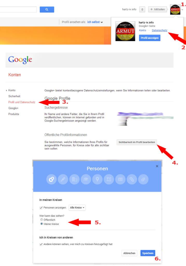 Privatsphähe Google+