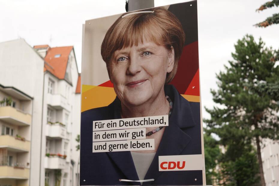 CDU Wahlplakat mit Bundeskanzlerin Angela Merkel