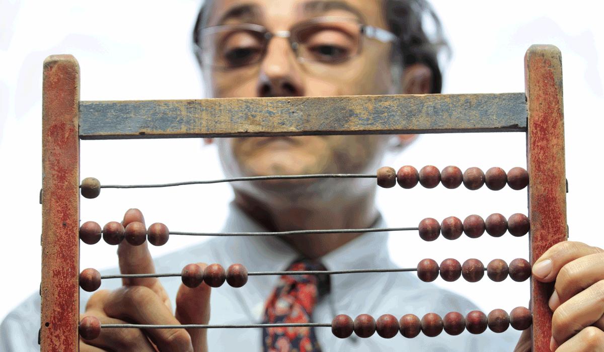Mann mit Abacus