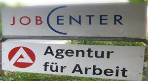 Firmenschild Jobcenter Agentur für Arbeit