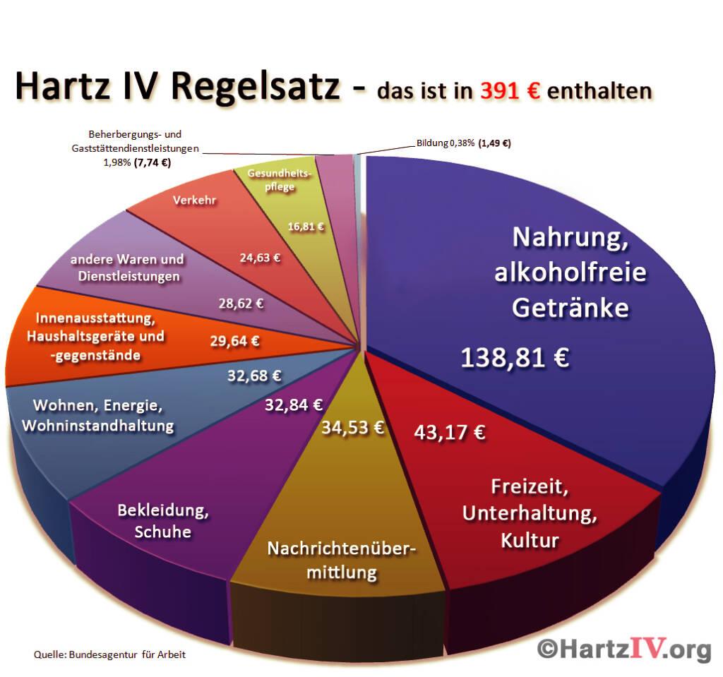 Zusammensetzung monatlicher Hartz IV Regelsatz