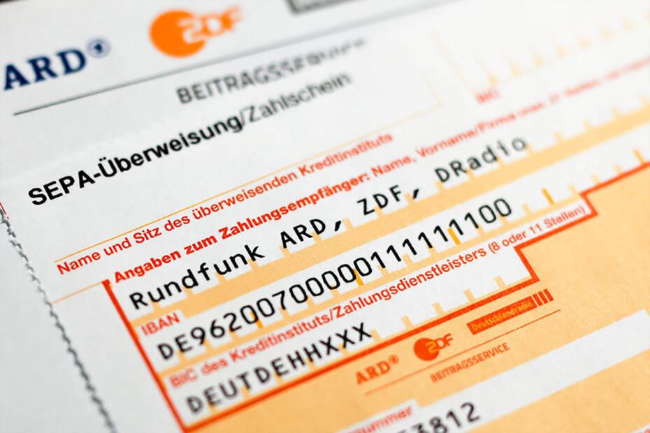Überweisungsträger Rundfunk ARD ZDF Rundfunkbeitrag