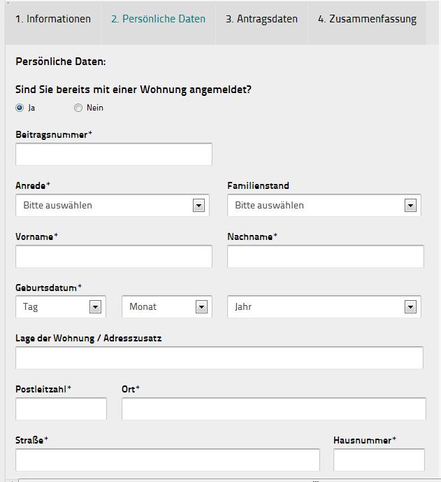 GEZ Abmeldeformular Runfunkbeitrag Screenshot